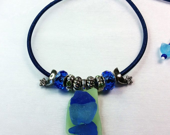 Green and Blue Beach Glass Layered Pendant on Adjustable Blue Fabric Necklace