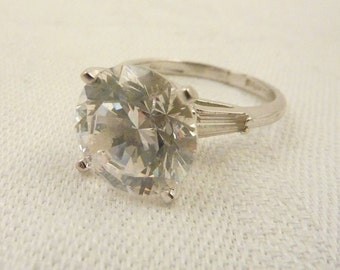 Sterling Silver Panetta Glass Faux Diamond Ring Size 7