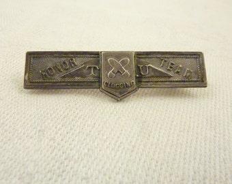 Antique Clogging Honor Team Sterling Silver Medal Guildcraft Brooch