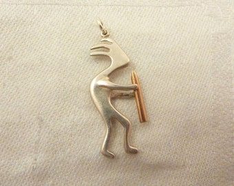 Vintage Sterling Silver and Brass Kokopelli Charm