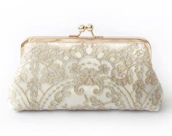 Metallic silver and gold Alencon Lace Bridal Clutch in Ivory 8-inches | Ready to Ship