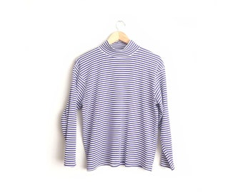 Size L // STRIPED MOCK TURTLENECK // Purple & White - Stretchy Ribbed Knit - Long Sleeve Top - Loose Fit - Preppy - Vintage '80s.