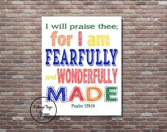 Psalm 139:14, Kids Scripture Art, Kids Bible Verse Art, DIGITAL, YOU PRINT, Sunday School Art, Kids Sunday School Art, Christian Wall Art