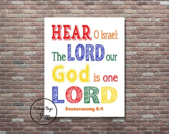 Children's Scripture Art, Deuteronomy 6:4, DIGITAL, YOU PRINT, Kids Scripture Art, Bible Study Art, Christian Wall Art, Christian Kids Art