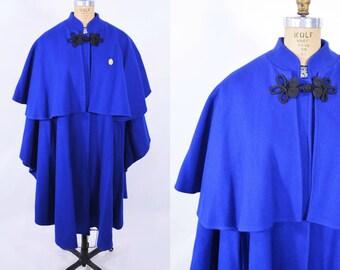 1980s cape coat | royal blue layered drape coat wool poncho | vintage 80s poncho