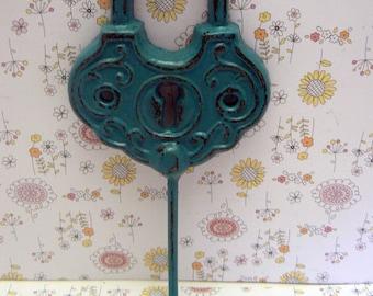 Padlock Shabby Style Chic Hook Jewelry Holder Lock Hook Lagoon Aqua Blue Leash Jewelry Coat Hat Keys Bathroom Towel Mudroom Nursery  Hook