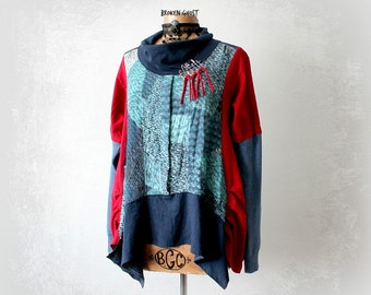 Upcycled Clothing Cowl Neck Shirt Bohemian Women's Top Artsy Clothes Lagenlook Tunic Urban Chic Hipster Fashion Loose Flowy Shirt L 'VIENNA'