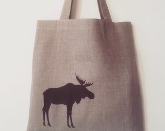 Hand printed linen tote with moose