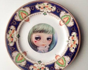 Blythe Doll Vintage Plate green pastel hair