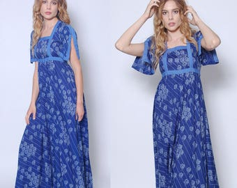 Vintage 70s Blue Maxi Dress FLORAL Print Dress Boho Maxi Dress Hippie Dress BLOCK Print Dress