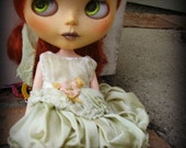 OOAK BLYTHE DRESS - Vintage Styled Shabby Elegance Tattered/Layered/Hand-Dyed Silk Dress  - Pistachio
