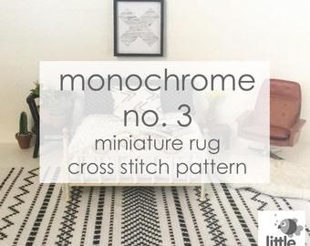 "Instant Download ""Monochrome No. 3 Dollhouse Floor Rug"" - modern miniature for dollhouse / digital pdf cross stitch embroidery pattern"