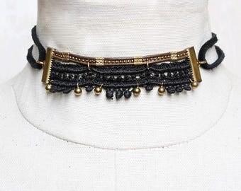 Lace choker necklace & body harness jewelry - PERCIA - Black lace