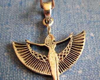NECKLACE -  WINGED GODDESS - Egyptian Revival - Estate Sale -  925 - Sterling Silver 18 inch  - Necklace367
