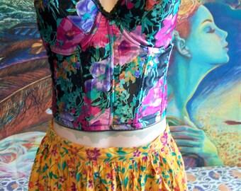 Vintage Bustier, Floral Bustier, Floral corset, Floral corset top, size 38 B