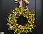 YELLOW Forsythia Wreaths, Front Door Wreaths, Springtime Wreath, Wreaths for Spring