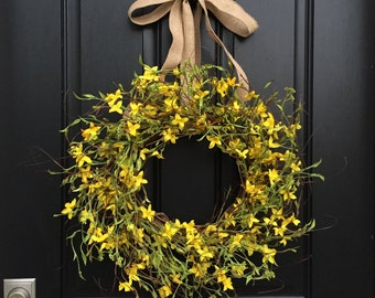 YELLOW Forsythia Wreaths, Front Door Wreaths, Springtime Wreath, Wreaths for Spring