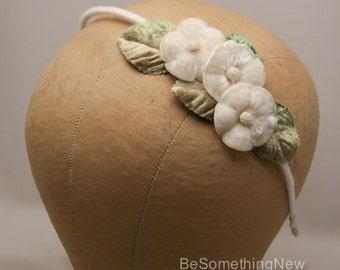 Vintage Flower Headband Ivory Flower Wedding Headband with Green Leaves, Bridesmaids Floral Headband Ivory Hair Accessory