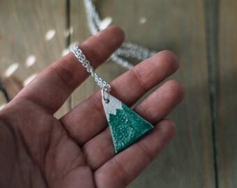 Mountain necklace, ceramic necklace, rustic nature accessories. Handmade clay pendant. Ceramic jewelry. Inspirational mountain pendant.