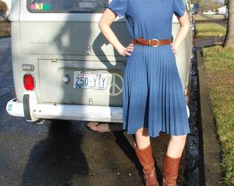 Vintage Tiny Polka Dot Blue Pleated Dress