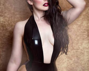 Latex Elissa bodysuit in Black