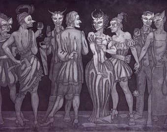 "Etching print - ""The Guilty Party"" - mysterious, sinister original art. Purple, monochrome. Masquerade & wine, drinks party by Nancy Farmer."