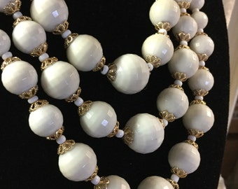 Sweet Signed WGermany Whitest White Faceted Lucite Plastic Bead Multi Strand Necklace Seed Beads Gold Tone Bead Caps 1950's