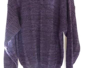 80s Cosby Style Mens Sweater SZ M/L 1980s Textured Purple and Black Intarsia