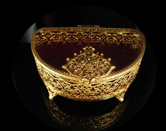 Antique Jewelry casket LARGE GLass Ormolu jewelry Box Gold Footed Vanity Box accessory Mourning flowers