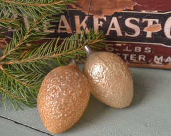 2 Antique German Glass Textured Walnut Christmas Ornaments