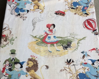 Vintage The Wizard of Oz Barkcloth Fabric 40's 50's 60's Amazing Piece for Sewing Supplies, Pillows, Tote Bag, Crafts or Upcycling Project