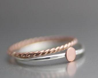 Rose Gold Stack Ring, Pink Stack Ring, Mod Dot Ring, Sterling Stack Rings, Rose Gold Band, Twisted Band, Copper Ring, Bridesmaid Ring, Midi