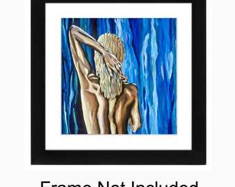 Sensual Woman Artwork, Sexy Female Figure, 11 x 11 Print, Lady Of The Sea, Mermaid Artwork