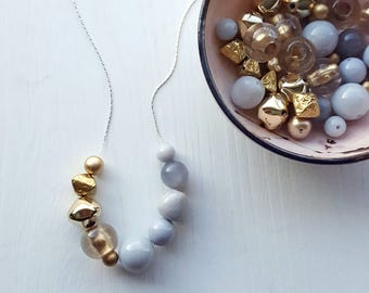 a kiss at dawn- necklace - vintage lucite - metallic - gold - colorblock - grey necklace