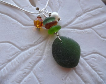 Stacked Sea Glass Necklace Pendant Beach Jewelry Sea Foam Sterling