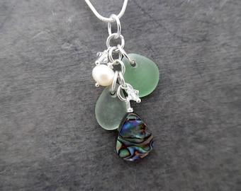 Abalone Sea Glass Necklace Beach Glass Jewelry Sea Shell Seashell Pendant Sterling