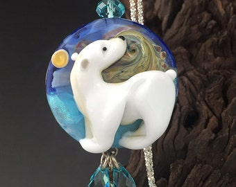 Polar Express handmade lampwork focal Polar Bear bead pendant necklace SRA