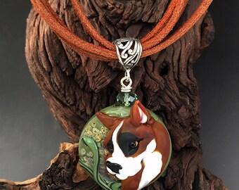 Boxer Pride custom handmade lamp work boxer dog bead pendant necklace SRA