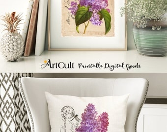 Two Digital Sheets Printable Images LILAC to print on fabric / paper, Iron On Transfer for tote bags t-shirts pillows, home decor wall art