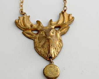Deer Antler Necklace Tiny Locket Locket Jewelry Antlers Necklaces Gold Brass Gifts Unique Jewellery Personalize Photograph Present For Her