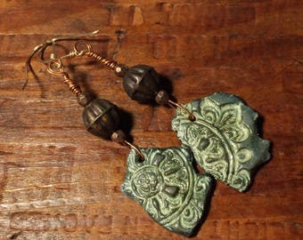 Stamped Green Clay Earrings, Polymer Clay Earrings, Faux Pottery Shard Jewelry