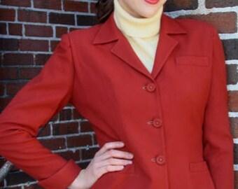 1940s Jacket, Rust Jacket, Vintage Jacket, World War II Era, Tailored Jacket, Tapered Jacket, Fitted Blazer, Size Small, 1940s Clothing,