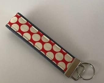 Wristlet Key Fob Key Chain Amy Butler Full Moon Cherry!