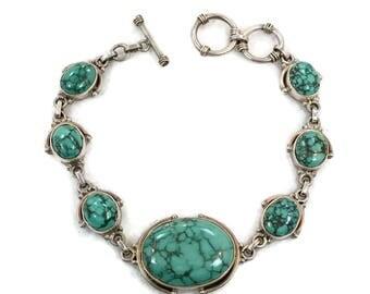 Turquoise Bracelet, Sterling Silver, Vintage Bracelet, Black Matrix, Links Linked, Large Stones, Large Wrist, Vintage Jewelry, Boho