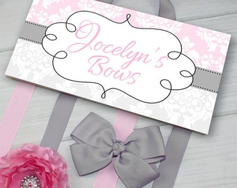 HAIR BOW HOLDER - Personalized Gray Pink Damask HairBow Holder - Bows Clippies Organizer - Girls Personal Hair Bow and Clip Hanger Hb0148