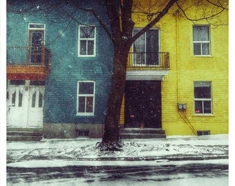 Montreal Art Architecture Art Photography Quebec Plateau Canada Mont Royal Yellow Blue Snow Winter Wall Decor Print - Rue Laval 2