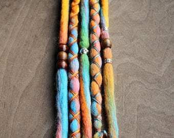 5 Tie-Dye (READY to SHIP) Wool Dreads Wrapped & Beaded Bohemian Hippie Dreadlocks