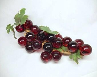 "vintage Lucite Grapes, red, 21 balls, translucent, 14"" long, vintage home decor, mid century"