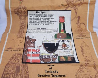 Irish linen tea towel, kitchen towel, Irish coffee, Irish treasures, Jameson whiskey, vintage, kitchen linens
