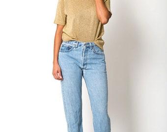 The Vintage Gold Metallic Disco Lurex Knit Crewneck Shirt